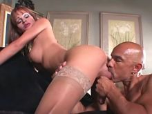Man fucks sexy shemale in stockings
