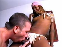 Guy cums after wild sex with tranny