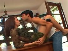 Nice shemale spoils amateur stud on billiard table