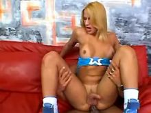 Lustful blonde shemale crazy jumps on big dick