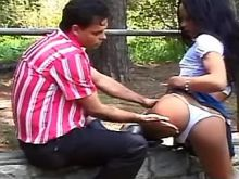 Latin shemale sucks appetizing fat cock in jungle