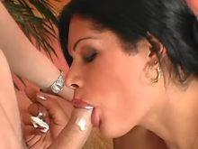 Latin shemale in stockings plays with fresh cock