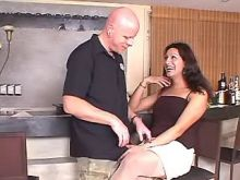 Lustful latin shemale in stockings spoils man
