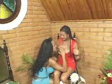 Latin girl sucking strong black shemales cock