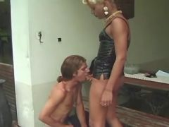 Blonde shemale fucks stuped dude and cums on him