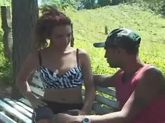 Yummy shemale gets fuck and cum on tits outdoor